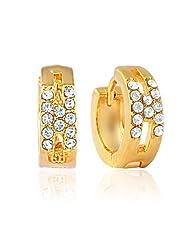 Mahi Eita Collection White Gold Plated Crystal Stones Hoop Earrings For Women-ER1100327G