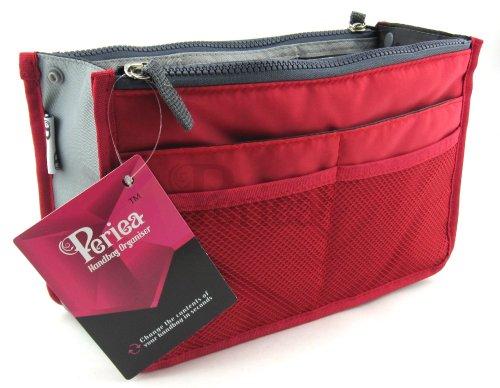 Periea - Organiseur de sac à main, 12 Compartiments - Chelsy (Rouge, Petit: H15 x L22 x P2-10cm)