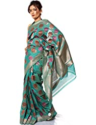 Exotic India Jade-Green Sari From Banaras With All-Over Large Flowers We - Green