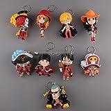 Anime Cartoon One Piece Film Z Luffy Zoro Sanji Franky Q Version Figure Keychains Toys Dolls 9pcs/set OPFG350