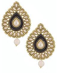 The Jewelbox Black Meenakari Enamel Pearl Gold Plated Pear Drop Ethnic Earring For Women