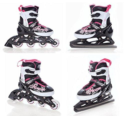 2in1 Schlittschuhe Inline Skates Inliner Croxer Flower Black/Pink verstellbar
