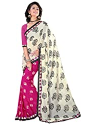 Alethia Beige Weight Less Casual Wear Printed Sarees With Unstitched Blouse