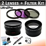 58mm Deluxe Lens Kit Includes 2x Telephoto Lens + 0.45x HD Wide Angle Lens W/Macro + 3-piece Filter Kit (UV CPL FL-D)+ Lens Cleaning Pen + Lens Cap Keeper + UltraPro Deluxe Lens Cleaning Kit. For The Canon VIXIA XA10 HF S30 HF G10 HF G30 Camcorders.