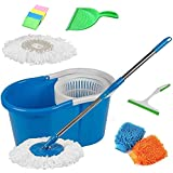 GTC 360° Spin Mop Rotating Steel Pole & Plastic Bucket With 2 Microfiber Heads With Free Dustpan, 4 Sponge, 1...