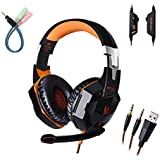 KOTION EACH G2000 3.5mm Stereo Gaming LED Lighting Over-Ear Headphone With Mic For PC Computer Game With Noise...