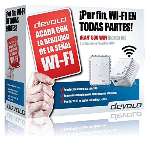Devolo dLAN 500 WiFi - Kit adaptador Ethernet para red eléctrica PLC Powerline (conectable en la pared, 500 Mbps, 2 Adaptadores, 1x LAN Port, Repetidor WiFi, WiFi Move), blanco