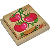 Mutong Toys 9-Piece Six Pattern Toy Brick Childhood Cognitive Wooden Jigsaw Puzzle Fruits and vegetables