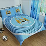 OFFICIAL MANCHESTER CITY MAN CITY FC BULLSEYE PANEL SPOT DOUBLE DUVET SET QUILT COVER BEDDING DOUBLE DUVET AND 2 X PILLOWCASE (MCDD2)