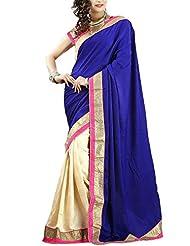 Clickedia Royal Blue Velvet Beautiful Bollywood Style Saree (Tamanna Blue)