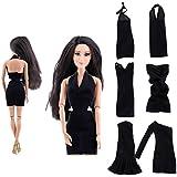 Segolike 6 Sets Beautiful Fashion Upscale Handmade Black Dress Clothes Casual Wear For Barbie Dolls