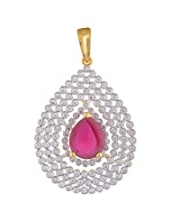 Sparkles Creation Pink Gemstone Pendant Set In American Diamonds And One Gram Gold Plated Metal
