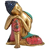 Indian Arts Emporium Brass Stone Work Relaxing Buddha