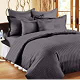 Trance Single Size Fitted Bedsheet Cotton Satin 200 TC - Steel Grey