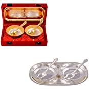 """Silver & Gold Plated 2 Mini Flower Bowl With Spoon And Tray And Silver Plated 2 5"""" Bowl With Spoon And Tray"""