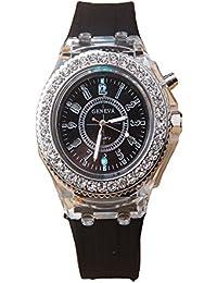 ISweven Isweven GENEVA Silicone Band Men Women Watch Luminous LED Lights Analogue Black Unisex Wrist Watch W1028aa