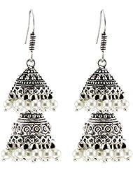 Big High Quality German Silver Dangle & Drop Oxidized Silver Metal Jhumki Earrings For Girls/Women (Gift)