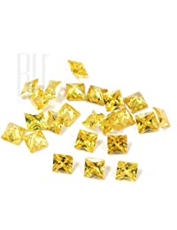Be You Golden Yellow Colour Cubic Zirconia AAA Quality Princess Cut Square Shape Loose Gemstone