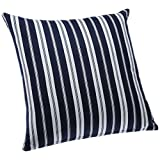 Blue Alcove Delhi Stripes Cushion Cover - Navy And White (SGCC-37)