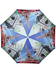 FabSeasons Blue Eiffel Tower, Paris Digital Printed, 3 Fold Fancy Automatic Umbrella For All Weather