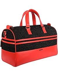 Veuza Madrid Premium Jacquard And Faux Leather Black Duffel Bag