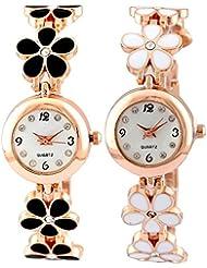 Pappi Boss Pack Of 2 - Designer Black & White Flower Golden Chain Bracelet Wrist Watch For Girls, Women