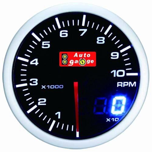 オートゲージ(AUTOGAUGE) タコメーター SM 52Φ ホワイト/アンバーレッド アナデジ アナログ デジタル デュアルシリーズ