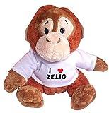 Plush Monkey (Orangutan) Toy with I Love Zelig T-Shirt (first name/surname/nickname)