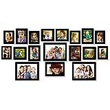 One For All Set Of 18 Photo Frames | Black Matt Finish | Korean Moulding | High Class Clear Glass | MDF Back |...