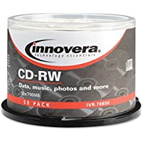 New-Innovera 78850 - CD-RW Discs, Hub Printable, 700MB/80min, 12x, Spindle, Silver, 50/Pack - IVR78850