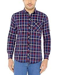 Nick&Jess Mens Navy Checkered Slim Fit Casual Cotton Shirt