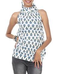 Rajrang Cotton Blue, White Screen Printed Tunic Top Size: L - B00AXY02BK