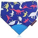 Reversible Dino/Blue Stripes Soft Cotton Baby Teething Bandana, Teething Bib, Drool Bib (Dinosaur)