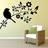 Decal Style Sparrow On A Branch Wall Sticker Small Size-16*11 Inch