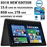 """2016 Newest DELL 7000 Series Inspiron 2-in-1 15.6"""" 4K 3840 X 2160 UHD Touch-screen Flip Convertible Laptop, Intel Core I7 6500U Up To 3.1 GHz, 8GB RAM, 1TB HDD, 802.11AC, Bluetooth, HDMI, Windows 10"""