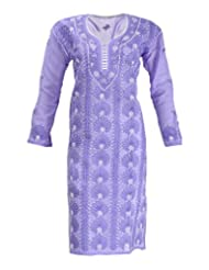 Imperial Chikan Women's Cotton Straight Kurta (14007, Purple, 44)