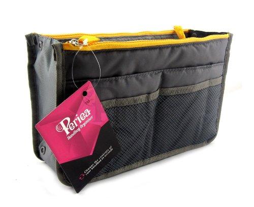 Periea Organiseur de sac à main Poche pour portefeuille 12 Compartiments - Chelsy (Gris, Moyen)