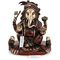 Collectible India Large Antique Finish Brass Ganesha Idol,Ganesh Statue Brown,Gold For Vastu
