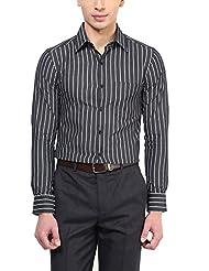 American Crew Men's Full Sleeve Stripes Shirt With Pocket (White & Black)