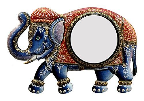 Divraya Wood Elephant Wall Mirror (45.72 Cm X 4 Cm X 30.48 Cm)