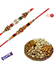 Premium Set Of 02 Rakhi With Dryfruit Hamper