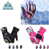Generic Male Black : AONIJIE Onesize Women Men Warm Waterproof Winter Skiing Gloves Outdoor Sports Hiking Camping...