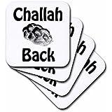 3dRose Cst_128174_1 Challah Back Jewish Bread Challah Bread-Soft Coasters, Set Of 4