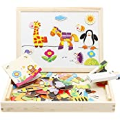 Extpro Educational Toy Set Assemble Wooden Magnetic Drawing Board With Puzzles For Kids Over 3 Year Olds
