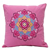 Elan Cotton Cushion Covers Moroccon Pink Medallion Cushion Cover 40 X 40 CM (Pink)