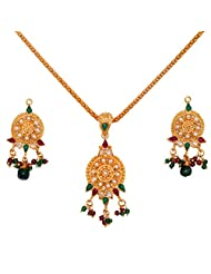 Divaz Traditional Gold, Green And Red Color Necklace Set With Earring For Women