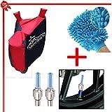AutoStark Accessories Bike Body Cover Red & Blue +Tyre Led Light Blue+Bike Cleaning Gloves For Hero Karizma ZMR