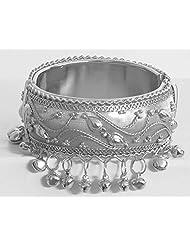 DollsofIndia Metal Hinge Bracelet With Metal Beads - Metal - White - B00VMBH07M