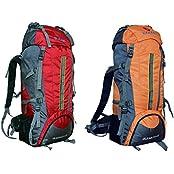 Gleam 2209 Mountain Rucksack / Hiking / Trekking Bag / Backpack 75 Ltrs ( Red & Orange Set Of 2 Bags ) With Rain...