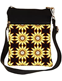 Snoogg Yellow Sunflower Cross Body Tote Bag / Shoulder Sling Carry Bag